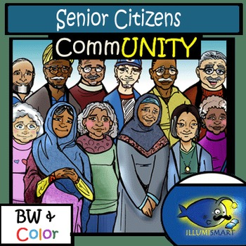 CommUNITY: Senior Citizens 24 pc. BW & Color Clip-Art Set