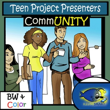 CommUNITY: Teen Project Presenters Clip-Art (12 pc. BW and