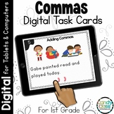 Comma Activities: First Grade Digital Task Cards for Items in a Series & Dates