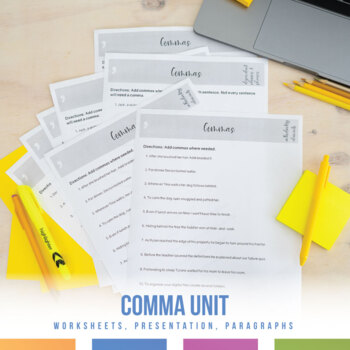 Comma Activities, Paragraphs, and Powerpoint - editable