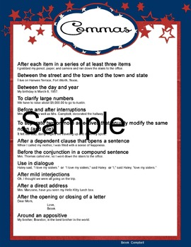 Comma Anchor Chart and Manipulative
