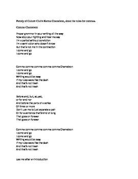 Comma Chameleon Song Parody Lyrics