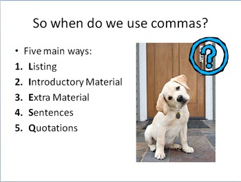 Comma Basics Lesson for High School with Guided Notes