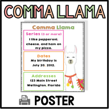 Comma Llama Poster - Punctuation Poster