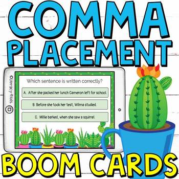 Comma Placement Boom Cards (Digital Task Cards) for Grades 3-4