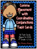 Comma Placement with Coordinating Conjunctions Task Cards (L.4.2c)