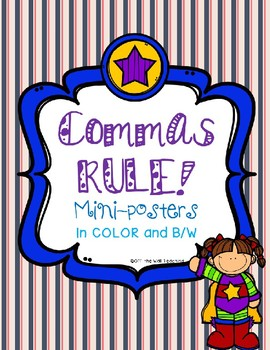 Comma Poster Set Journal Mini-Anchor Charts and Teacher Posters