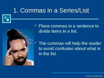 Comma Presetation- practice questions imbedded in presentation
