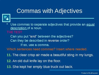 Comma Presentation: Practice questions imbedded in presentation