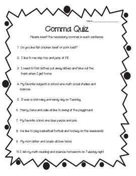 Using Commas in a List | Worksheet | Education.com