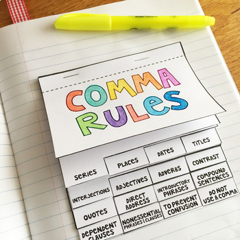 Comma Rules Interactive Notebook Flipbook