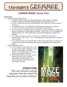Comma Rules BUNDLE: Ten-Minute Grammar Units 16 and 17
