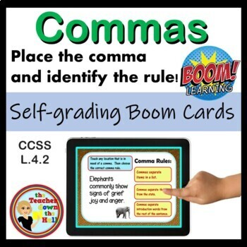 Comma Rules - Boom Cards (Place the Comma and Find the Rule) 24 Cards!