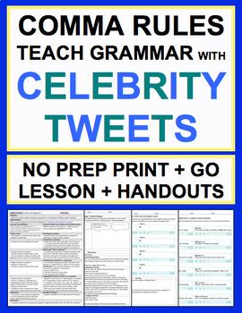 Comma Rules Celebrity Tweets Grammar No Prep Lesson Plan & Worksheets