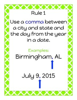 Comma Rules Classroom Posters