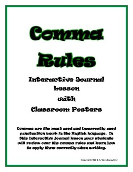 Comma Rules Interactive Journal Lesson