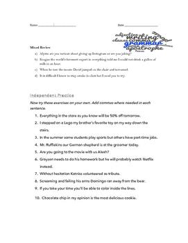 Comma Rules Lesson