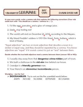 Comma Rules Lesson One: Ten-Minute Grammar Unit #16