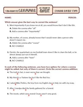 Comma Rules Lesson Two: Ten-Minute Grammar Unit #17