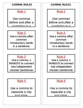 Comma Rules Mini Anchor Chart