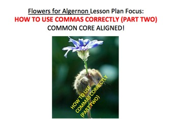 Comma Rules (Part two) Flowers for Algernon Lesson Plan, Activities