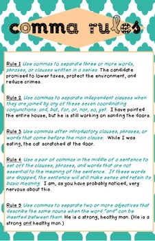 Comma Rules Poster - Ledger Size