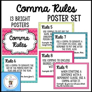 Comma Rules Posters