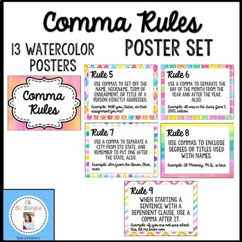 Comma Rules Posters- Watercolor