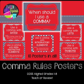 Comma Rules Posters for Elementary and Middle Grades! (Red and Gray)