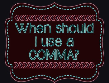 Comma Rules Posters for Elementary and Middle Grades! (Neon Colors)