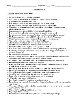 Comma Rules, Comma Review Worksheet #4, and Detailed Answer Sheet