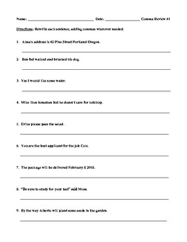 Comma Review #1 for Elementary Students and Teacher Answer Key