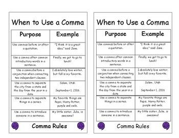 Comma Rules Sheet