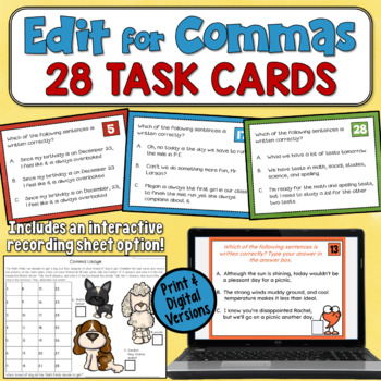 Comma Rules Task Cards
