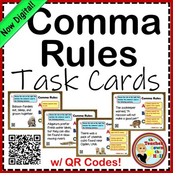 Comma Rules Task Cards w/ QR Codes & Animal Classification!