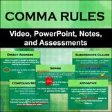 Comma Rules Unit - Video, PowerPoint, Notes, Homework, Quizzes, and Test
