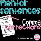 Mentor Sentences - Comma Rules for Middle and High School