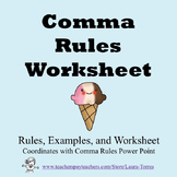 Comma Rules Worksheet