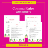 Comma Rules Worksheets, Answer Key & Notes