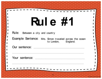 Comma Rules and Practice Foldable