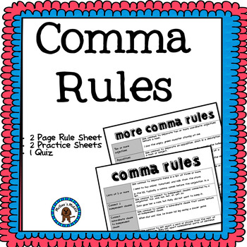 Comma Rules And Practice Worksheet By Mcgees Middle Tpt