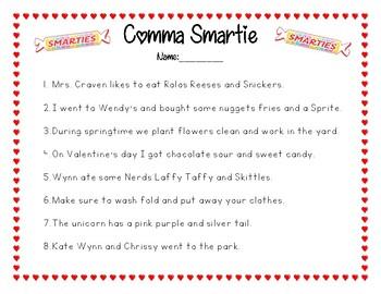 Comma Smartie- Commas in a Series