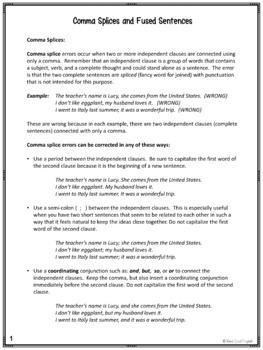 Comma Splice, Run on Sentence PowerPoint and Practice Activities