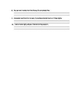 Comma Splices Worksheet