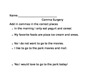 Comma Surgery with Pasta