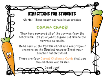 Comma Task Cards (Crazy Carrots)