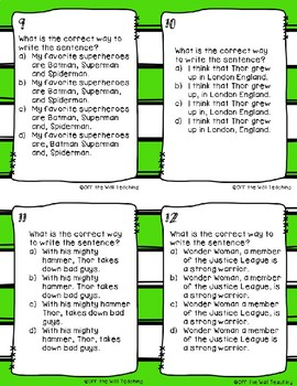 Comma Task Cards: Super Hero Theme