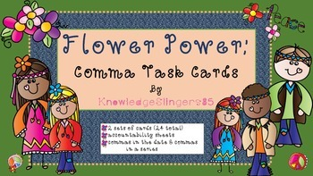 Comma Task Cards for the Primary Grades -- Flower Power