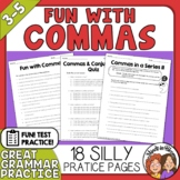 Comma Practice Fun and Humorous Worksheets or Easel Activity