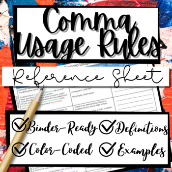 Comma Usage Graphic Organizer Cheat Sheet Notes